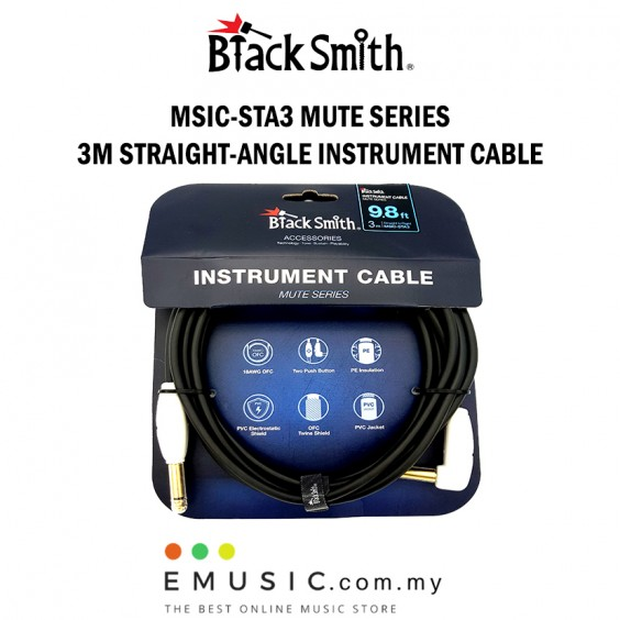 Blacksmith MSIC-STA3 3m Straight to Right Mute Series Instrument Cable