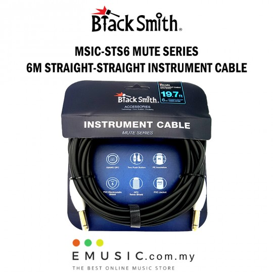 Blacksmith MSIC-STS6 6m Straight to Straight Mute Series Instrument Cable