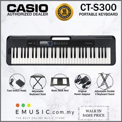 Casio CT-S300 61-key Portable Keyboard with Keyboard Stool & Pedal (Casiotone / CTS300)
