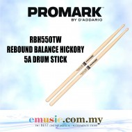Promark RBH550TW Rebound 5A .550 Hickory Tear Drop Drumsticks, Wood Tip