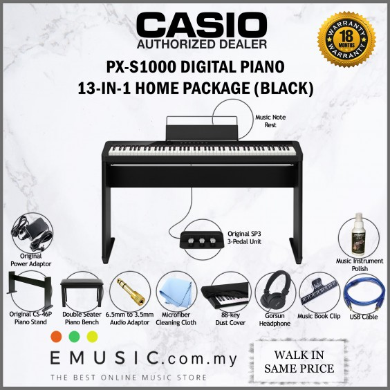 Casio Privia PX-S1000 88-key Digital Piano Keyboard Home Package (PXS1000)